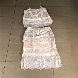 Tank top skirt lace Bcbg blue nude set